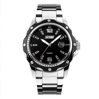 Skmei New Fashion Men's Silver Stainless Steel Band Wrist Watch - Black 0992 - intl
