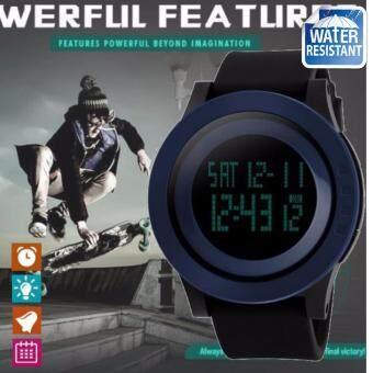 SKMEI ของแท้ 100% ส่งในไทยไวแน่นอน นาฬิกาข้อมือผู้ชาย สไตล์ Sport Digital Watch บอกวันที่ ตั้งปลุก จับเวลา ตัวเลข LED ใหญ่ ชัดเจน กันน้ำ สายเรซิ่นสีดำ รุ่น SK-M1142 สีน้ำเงิน (Blue)