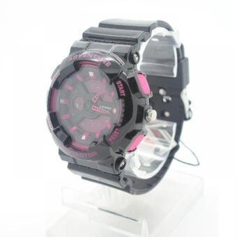 Submariner นาฬิกาข้อมือผู้หญิงและเด็ก สายยาง 2 ระบบ (เข็มและDigital) - SS20019 (Black-Pink)