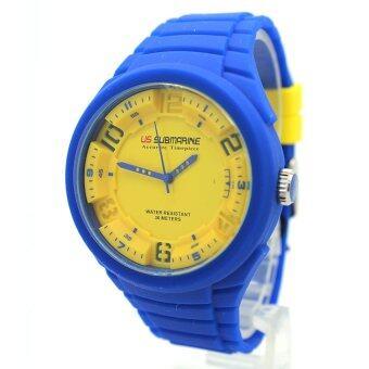 ราคา Submariner นาฬิกาข้อมือชาย-หญิง สายยาง ระบบเข็ม S-B002 (Blue-Yellow)