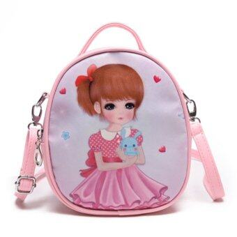 Summer travel gift bag girl children children Princess satchelbackpack shoulder bag---Pink-Rabbit