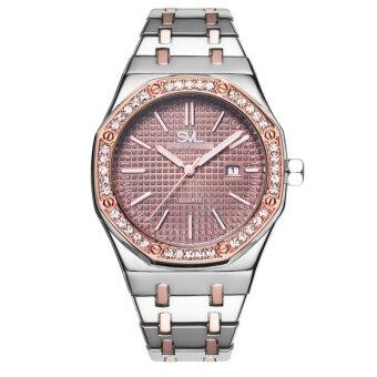 SVL นาฬิกาข้อมือผู้ชาย กันน้ำ 100% รุ่น GP80333-D (Brown/Silver-M) แถมซองนาฬิกาสุดหรู