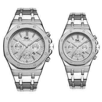 SVL Date Quartz นาฬิกาข้อมือคู่รัก มีวันที่ กันน้ำ 100% รุ่น GP80333-TR (Silver-CP) แถมซองนาฬิกาสุดหรู