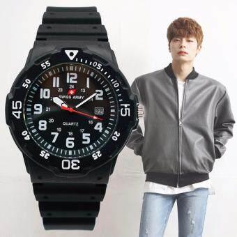 Swiss Army นาฬิกาข้อมือผู้ชาย ดูวันที่ได้ ดีไซน์เท่ห์ สไตล์ NAVY สายเรซิ่นสีดำ รุ่น ZD-0117 สีดำ (Black)