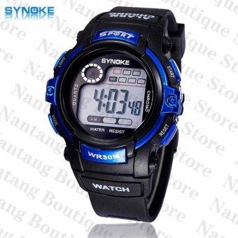 Synoke 99569 รัดกันน้ำแข็งแรงปู30แผ่นนาฬิกาข้อมือนาฬิกานักกีฬาสีน้ำเงิน