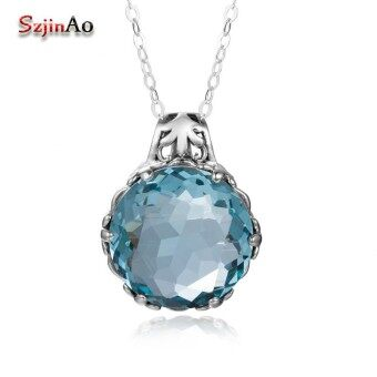 Szjinao Austrian Blue Crysta Pendant Stone Fashion Real 925 Sterling-Silver-Jewelry Statement necklaces  pendants for Women - intl