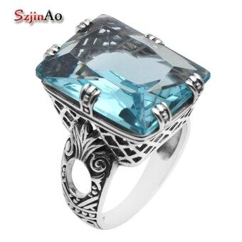 Szjinao Fashion Jewelry Brands Retro Style Antiek Large Blue Stone CZ 925 Sterling Silver Rings for Women lote anillos - intl