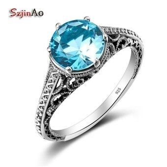 Szjinao Round Stone Rings For Women Aquamarine Jewelry Genuine 925 sterling silver jewelry Classic Engagement Wedding Ring - intl