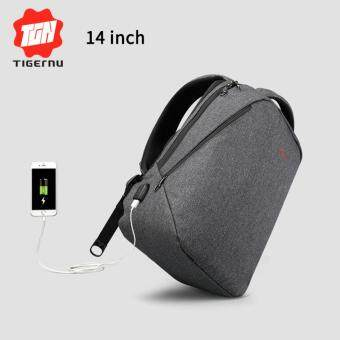 Tigernu Classic Light Weight Backpack for 12-14inches Laptop With External USB Charging Port3164(black grey) - intl