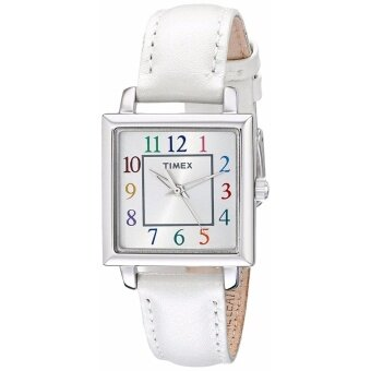 Timex Women's T2P377 Elevated Classics Silver-Tone Watch with White Leather Band - intl