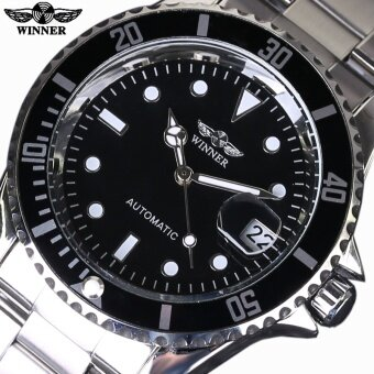 Top Luxury Brand WINNER Black Watch Men Casual Male Automatic mechanical Watches Business Sports Military Stainless Steel Watch - intl