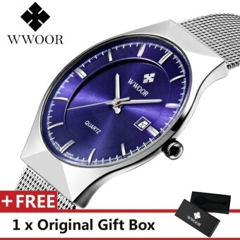 Top Luxury Brand WWOOR Men's Watches Stainless Steel Band Display Quartz Men Wrist watch Ultra Thin Dial Clock Fashion Watch Blue - intl