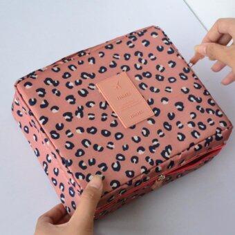 ขายด่วน กระเป๋าจัดระเบียบเครื่องสำอาง กระเป๋าจัดระเบียบอุปกรณ์อาบน้ำ กระเป๋าจัดระเบียบของใช้ส่วนตัว กระเป๋าอเนกประสงค์ รุ่น TRAVEL MULTI POUCH ver.2 สีชมพูลายเสือ