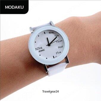 TravelGear24 นาฬิกาข้อมือสายหนัง ใส่ลำลอง นาฬิกาแฟชั่น(White/สีขาว) 17M048
