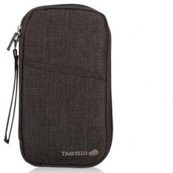 Travellus กระเป๋าใส่พาสปอร์ตแบบยาว - สีดำ/เทาเข้ม