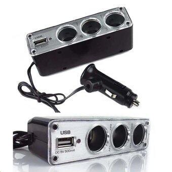 Triple Socket ขยายช่องจุดบุหรี่ 3 ช่อง + 1 USB - สีดำ