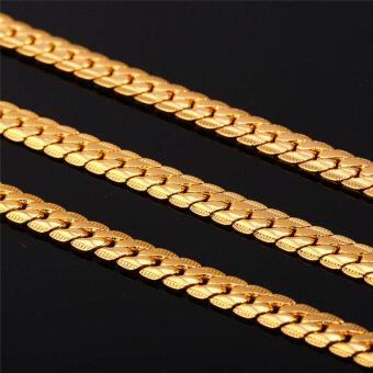 U7 71.12ซม18กิโลไบต์เป็นทองชุบเครื่องประดับแฟชั่นสร้อยคอโซ่ร้อนคลาสสิคชาย(ทอง) (image 3)