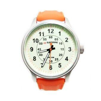 ประเทศไทย US SUBMARINE นาฬิกาข้อมือชาย หน้าปัดครีม สายซิลิโคน (สีครีม/ส้ม)
