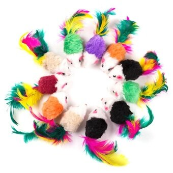 Vakind 10 Pcs False Mouse Pet Toys Mini Playing Toys with Colorful Feather - intl