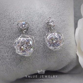 Value Jewelry ต่างหูแฟชั่นประดับเพชร CZ รุ่น ER1124 (White goldplated)