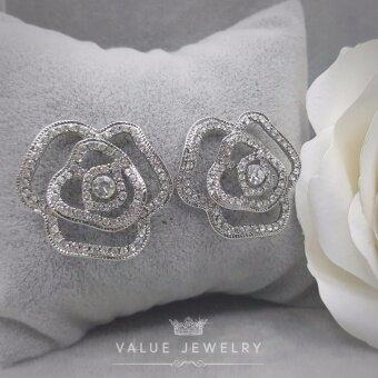 Value Jewelry ต่างหูแฟชั่นประดับเพชร CZ รุ่น ER1126 (White gold plated)