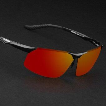 VEITHDIA 6502 Polarized Sunglasses Men black frame red lens (Intl)