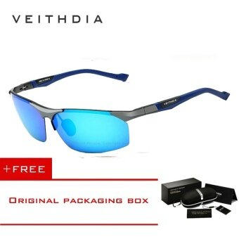 VEITHDIA Aluminum Magnesium Sunglasses Polarized Sports Men Coating Mirror Driving Sun Glasses oculos Male Eyewear Accessories 6589(Grey Blue) [ Buy 1 Get 1 Freebie ] - intl