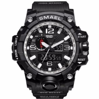 we are family SMAEL รุ่น 1545 นาฬิกาข้อมือ นาฬิกาแฟชั่น ผู้ชาย สีเงิน Watch Waterproof Fashion Watch Men Sport Analog Quartz-Watch Dual Display LED Digital Electronic Watches relogio
