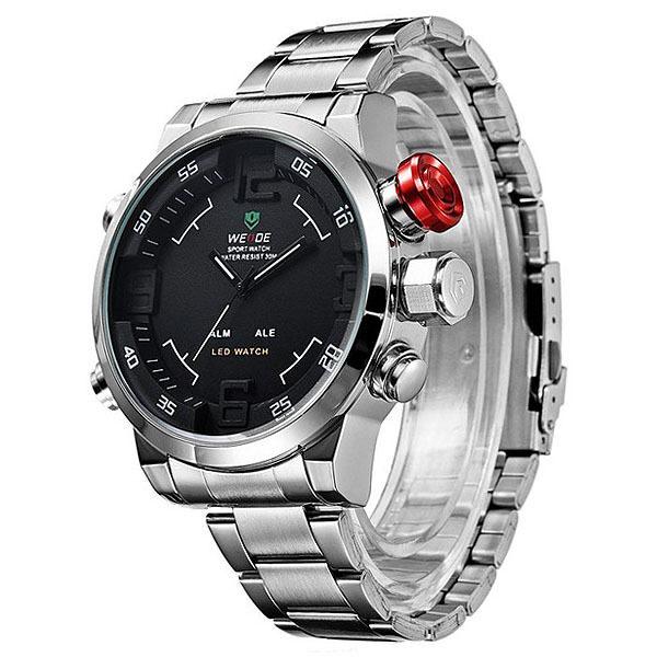 WEIDE นาฬิกาข้อมือผู้ชาย นักธุรกิจ รุ่น WH-2309 อะนาล็อก ดิจิตอล สีเงิน สีดำ Sport Business Casual Analog LED Digital Men Watch - Silver Black