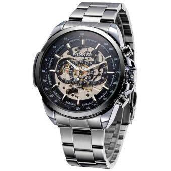 2561 WINNER นาฬิกาข้อมือชาย ระบบ AUTO หน้าปัดดำฉลุวงกลม 3 วง เรือนเงิน