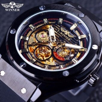 Winner Fashion Black Golden Star Luxury Design Clock Mens Watch Top Brand Luxury Mechanical Skeleton Watch Male Wrist Watch - intl