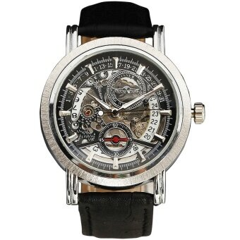WINNER Men Noble Dress Mechanical Wrist Watch นาฬิกาข้อมือ BrownLeather Strap Date Display Sub Dial Transparent Dial 068