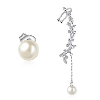 Women Earrings Flower Left Ear Cuffs Earring Stud with White Pearl - intl