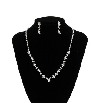 Women Rhinestone Necklace Earrings Jewelry Sets for Wedding Banquet Party Gift - intl