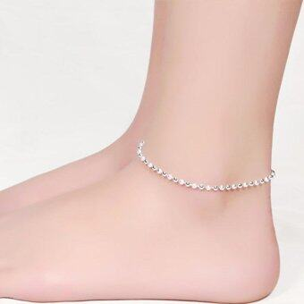 Women Silver Plated Chain Anklet Beads Ankle Bracelet for FootJewelry - intl