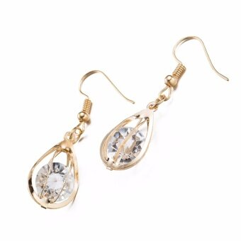 Women's Fashion Creative Glass Crystal Drop Earrings Women Jewellery Dangle Earring Gold - intl