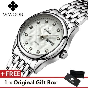 WWOOR Top Luxury Brand Watch Famous Women's Fashion Quartz Bracelet Watches Calendar Waterproof Dress Alloy Women Wristwatch Gift For Female Silver White - intl