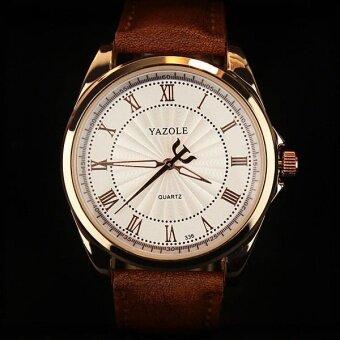 YAZOLE 336 Men's Roman Scale Business Quartz Watch White Brown -intl