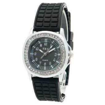 Zazzy Dolls นาฬิกาข้อมือผู้หญิง หน้าปัดฝังเพชรรอบ ดีไซน์หรู สไตล์แบรนด์ดัง สายเรซิ่นสีดำ รุ่น ZD-0110 สีดำ (Black)